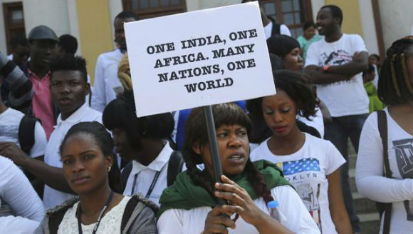 African Students Protest Against Racism in India- extra image1