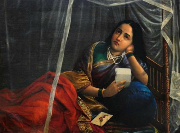 Ravi-Varma-Oil-Paintings-Sad-Letter