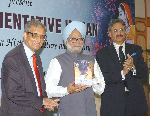The Prime Minister, Dr. Manmohan Singh releasing the book 'The Argumentative Indian - Writings on Indian History, Culture and Identity', by Dr. Amartya Sen in New Delhi on August 1, 2005.