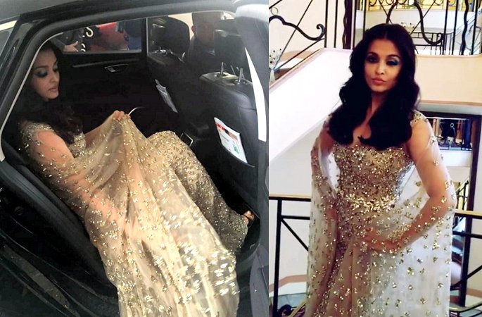 Aishwarya Rai glitters in Gold at Cannes 2016