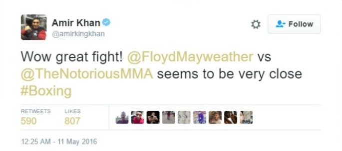 Amir Khan tweeting about Mayweather vs McGregor