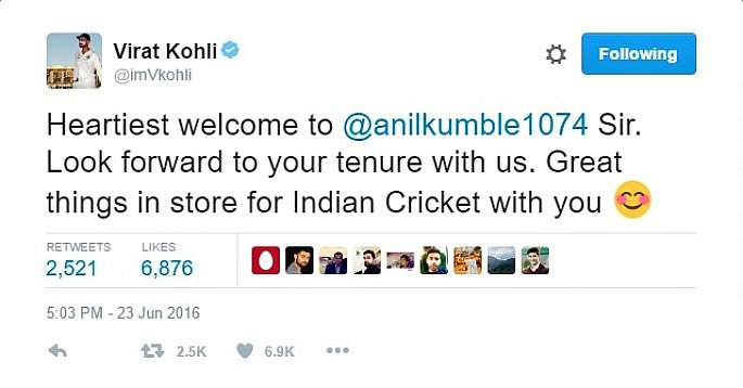 Virat Kohli Tweets his support of Anil Kumble as new head coach