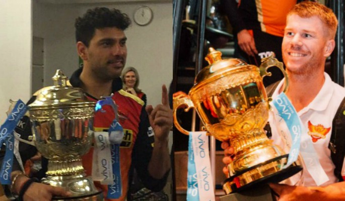 IPL Warner and Yuvraj with trophy