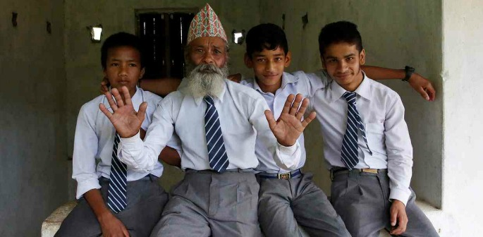 Nepalese grandfather goes Back to School at 68