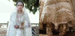 Indian Bride stitches Love Story on her Lehenga