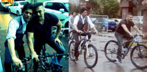 Salman and Shahrukh together on Bikes in Mumbai