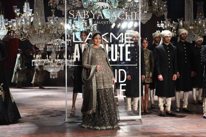 Bebo flaunts baby bump in designer Lehenga