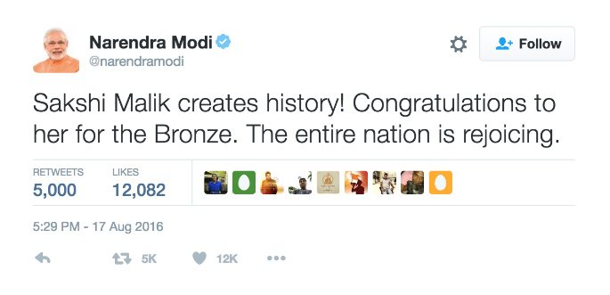 Wrestler Sakshi Malik gets first Rio Medal for India