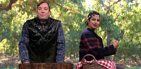 Priyanka Chopra beats Jimmy Fallon in Bobbing Apples game