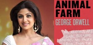 Shilpa Shetty gets Confused by Animal Farm book