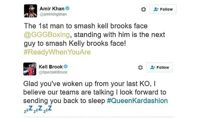 Amir Khan and Kell Brook are trading insults on Twitter