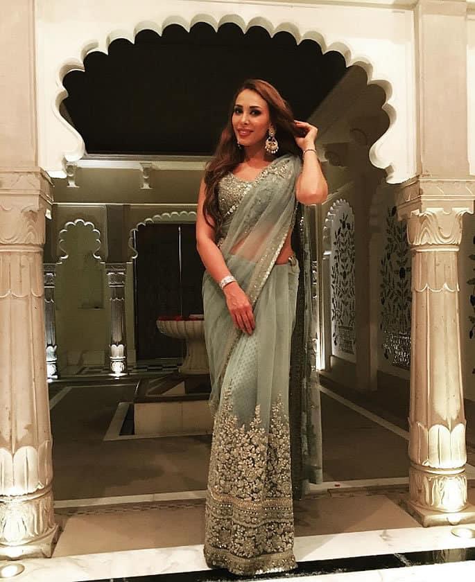 Iulia Vantur attends Wedding with Salman Khan in a Saree