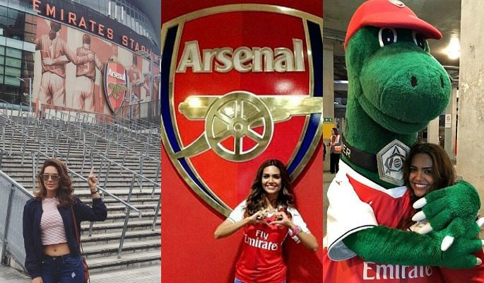 Esha Gupta makes no secret of her love and support for Arsenal FC