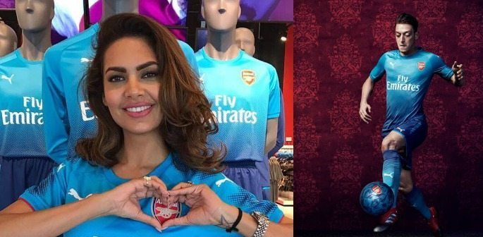 Bollywood's Esha Gupta model's Arsenal 2017-18 Away Kit