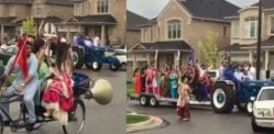 Desi Groom makes Entrance on Tractor at Canadian Wedding