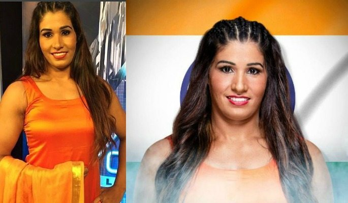 Kavita Devi made her WWE debut in an orange salwar kameez