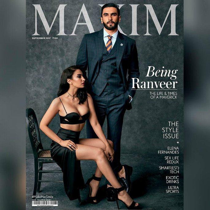 Ranveer Singh & Elena Fernandes ooze Sex Appeal on Maxim India Cover