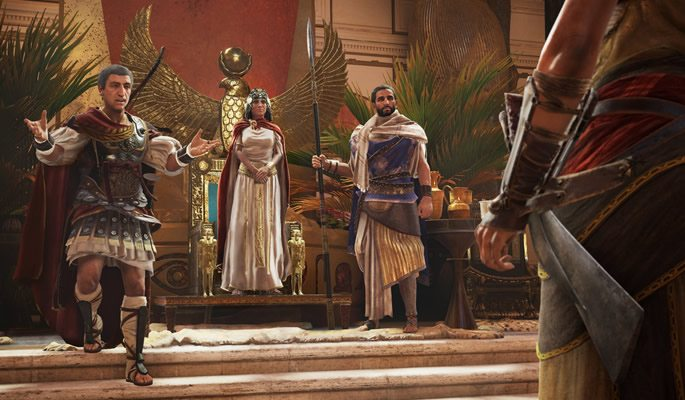 Bayek approaches Julius Caesar and Cleopatra