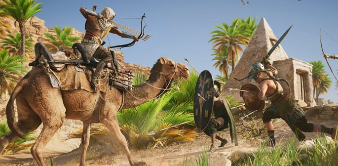 Bayek fighting enemies while on a camel