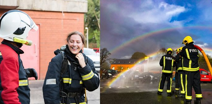 College of woman smiling and firefighters