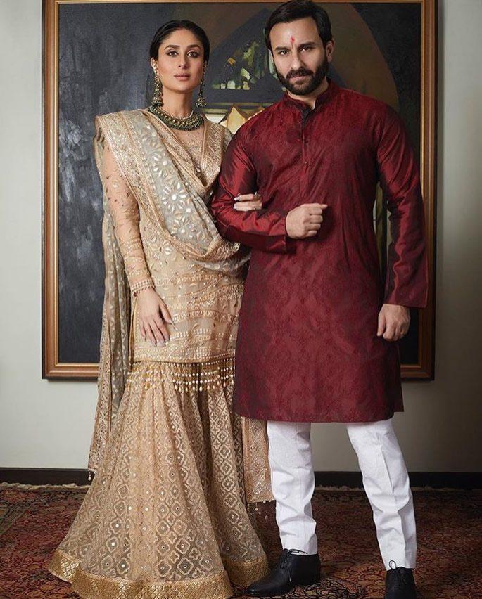 Kareena and Saif standing together