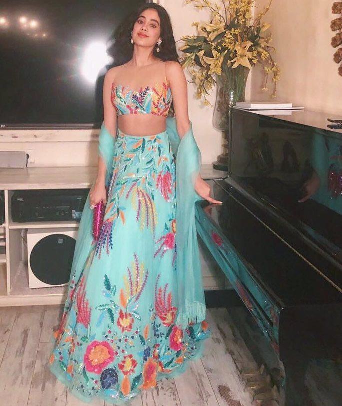 Jhanvi wearing colourful lehenga