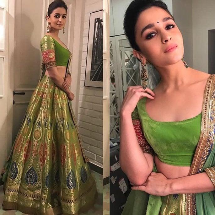 Alia wearing green lehenga