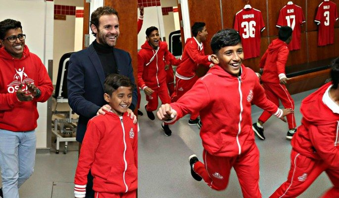 Juan Mata gave the children a special guided stadium tour of Old Trafford