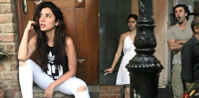 College of Mahira sitting and viral image of Mahira and Ranbir