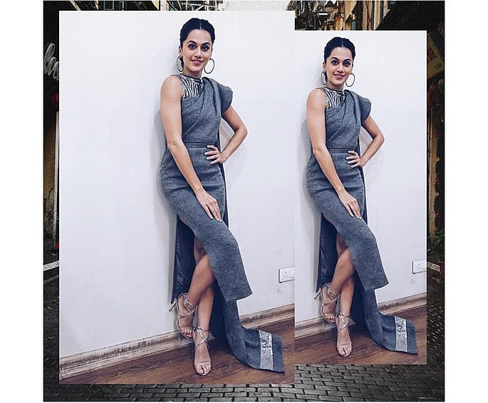 Taapsee wearing a grey saree