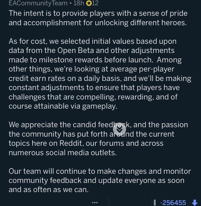 Reddit comment from EA