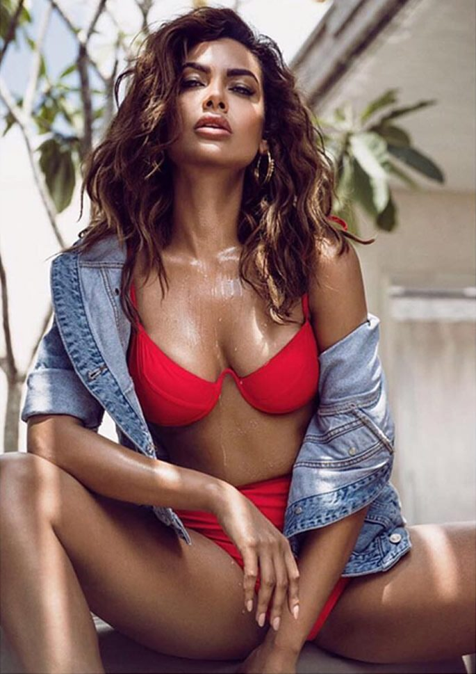Esha wearing red bikini and denim jacket