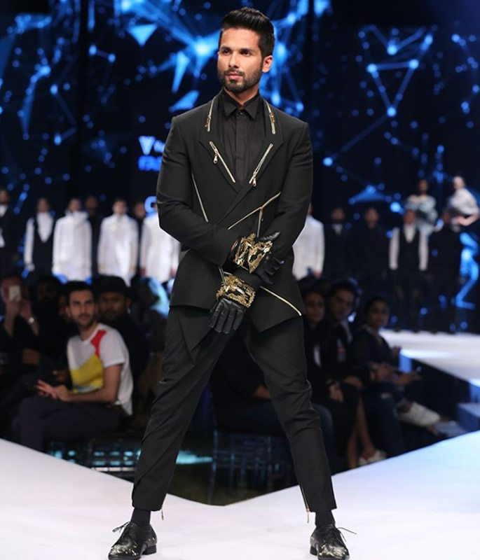 Shahid Kapoor wearing a black suit