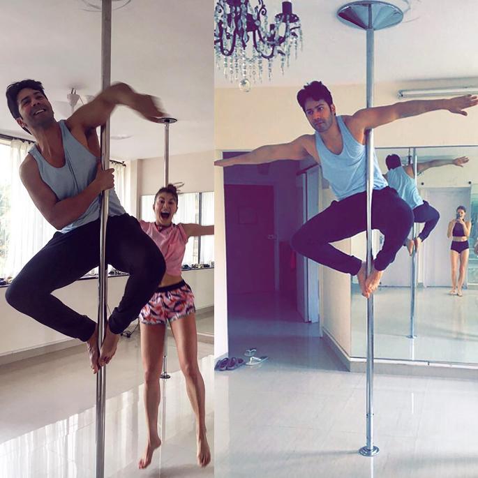 Varun practising on the pole