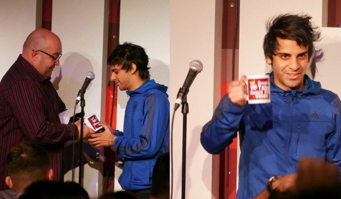 Kai Samra wins the Breaking Talent Award at the 2017 Birmingham Comedy Festival