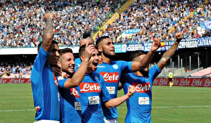 Napoli players celebrate scoring a goal