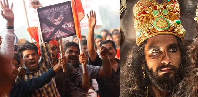 Protestors and still of Ranveer