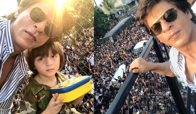 SRK and AbRam in front of crowds