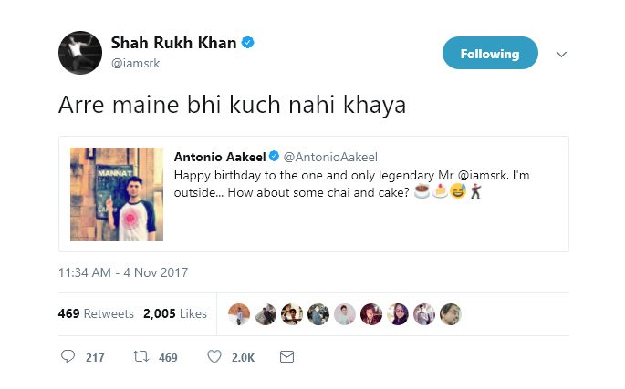 SRK reply to Antonio Akeel