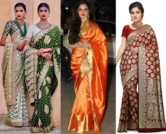 68bd688409 The year 2018 is all set to take the saree back to its basic fabrics. With  designers laying more and more emphasis on the use of traditional fabrics  and ...