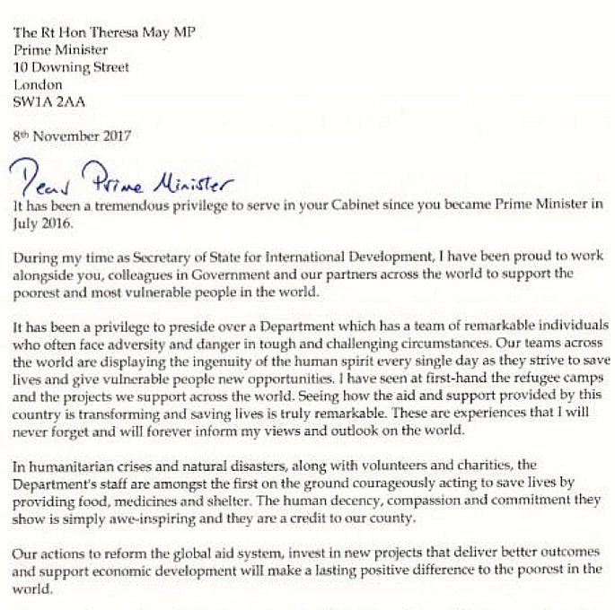 Priti Patel resignation letter