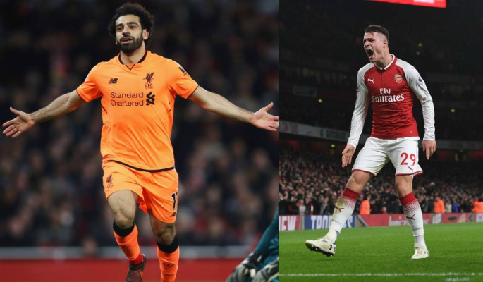 Mohamed Salah and Granit Xhaka celebrate their goals