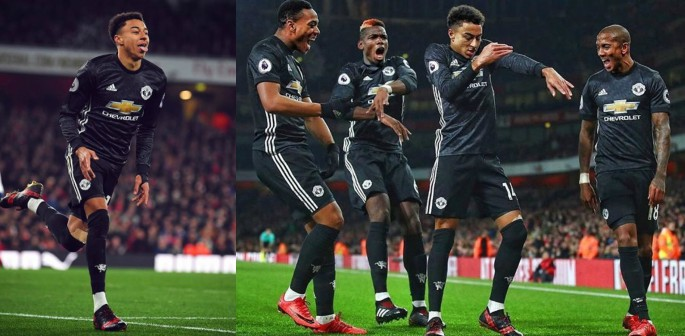 Jesse Lingard scores two past Arsenal
