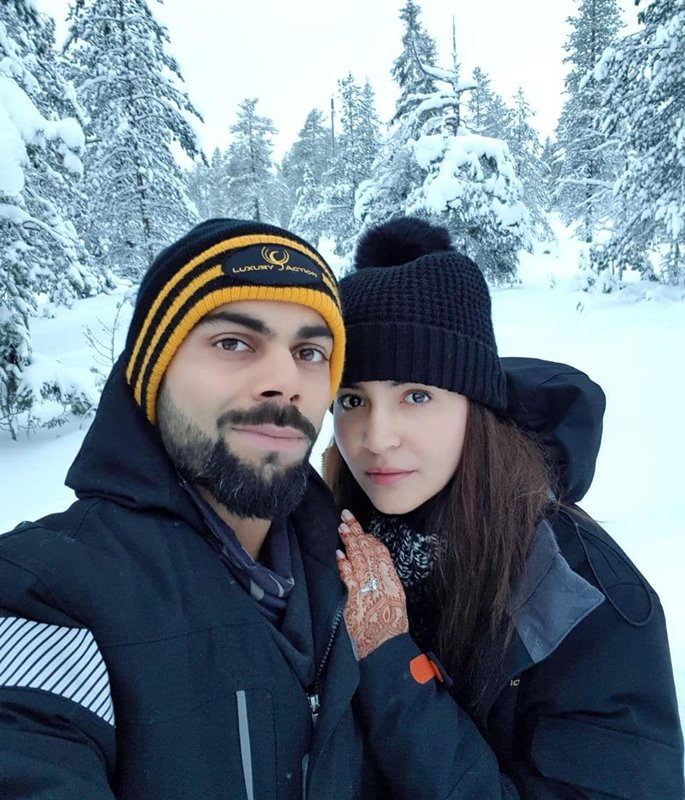 Virat and Anushka share a winter wonderland honeymoon moment