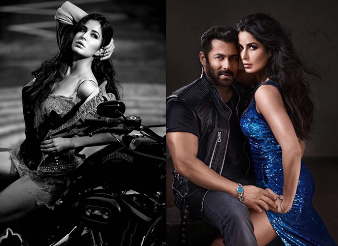 Katrina resting on a motorbike and with Salman