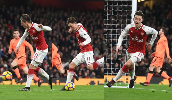 Mesut Ozil scores past Liverpool for Arsenal
