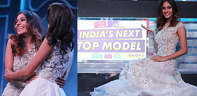Riya hugging Sabita and posing by INTM logo