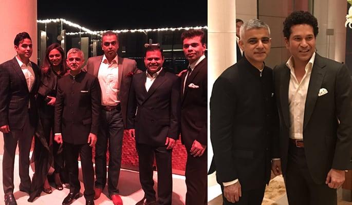 Sadiq posing with Indian stars