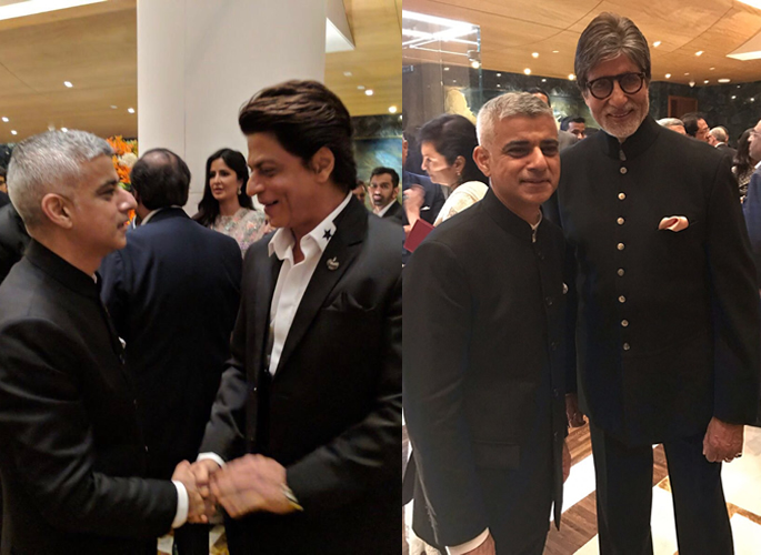 Sadiq shaking hands with SRK and posing with Amitabh