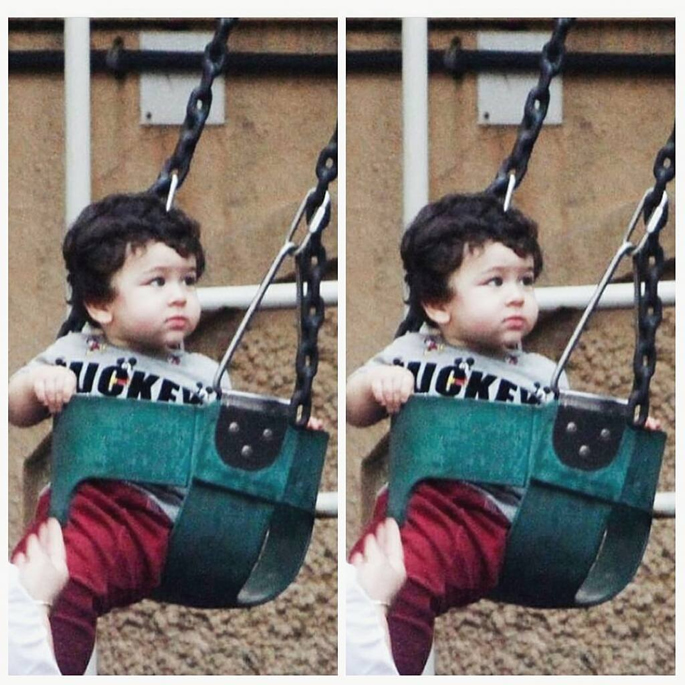 Taimur on a swing